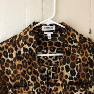 Express cheetah print blouse